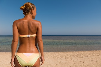 Slim sensuous woman looking at the sea