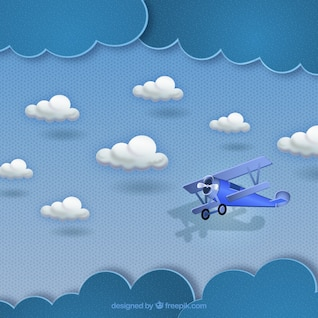 Small plane flying in the clouds