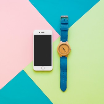 Smartphone and wrist watch