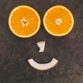 Smiley face with fruits