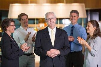 Smiling front partner tie businessman