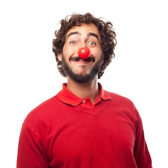 Smiling man with a red nose