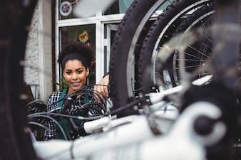 Smiling mechanic in workshop