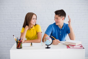 Smiling teens at lesson