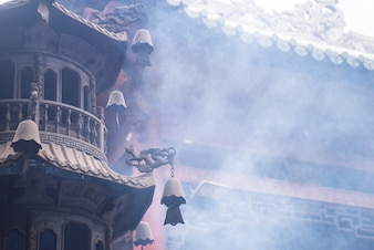 Smoke in the temple tower