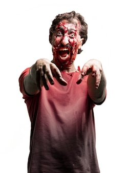 Snarling zombie with arms raised