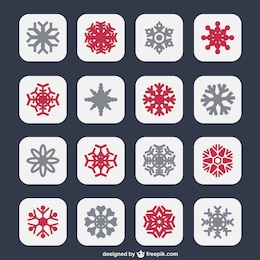 Snowflakes icons in two colors