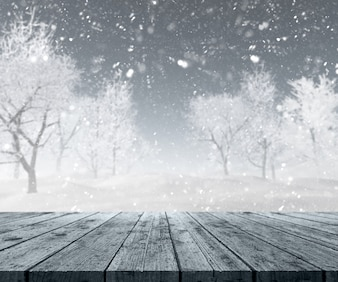 Snowy landscape behind a wooden table