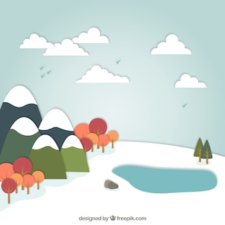 Snowy landscape in cartoon style