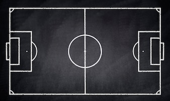 Soccer field drawn on a blackboard