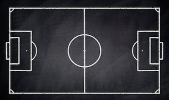Soccer field drawn on a blackboard