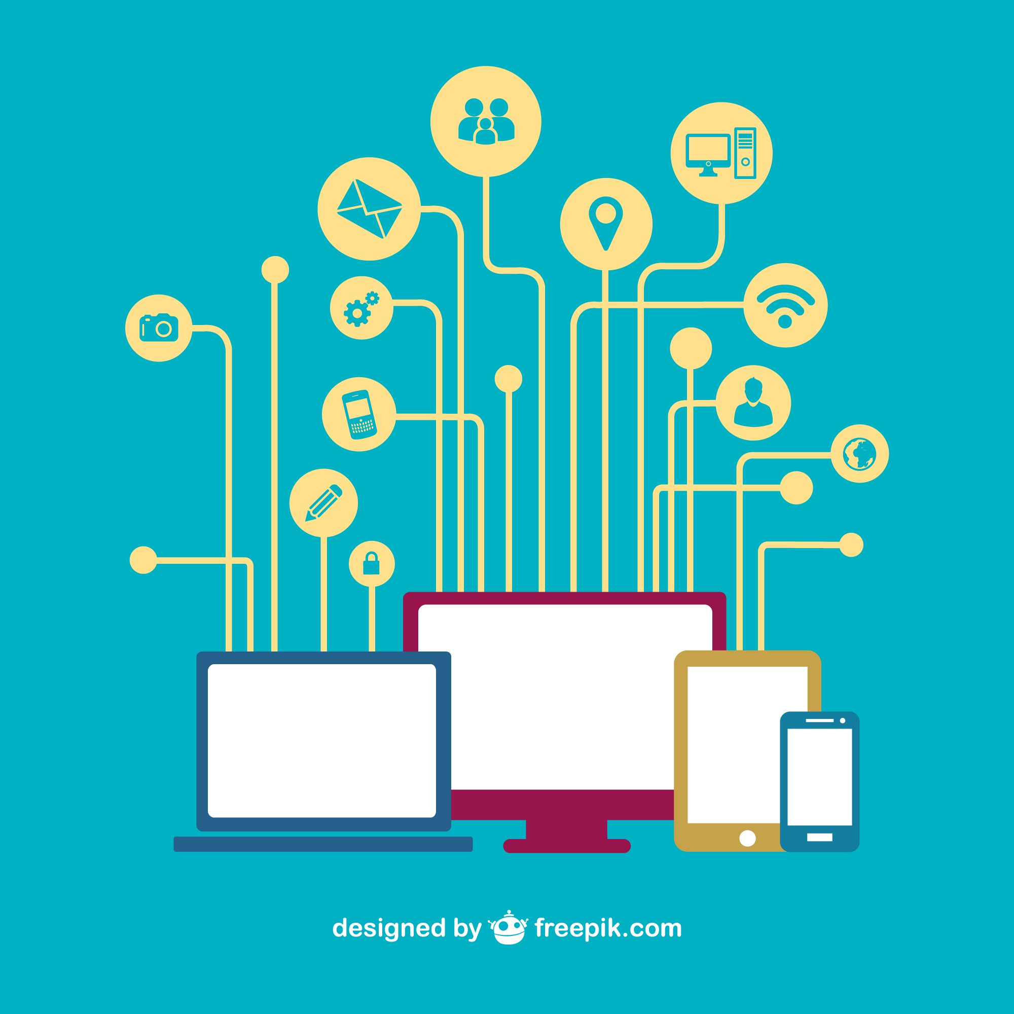 Social media devices networking vector