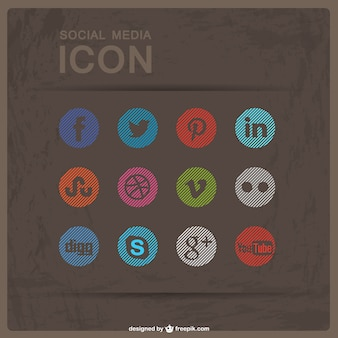 Social media flat buttons free download