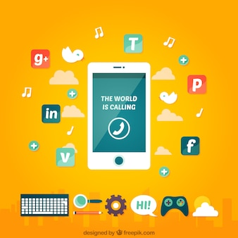 Social media icons with a mobile phone