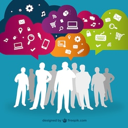 Social media interacting people vector