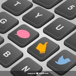 Social media keyboard vector