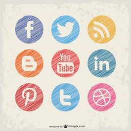 Social media vector buttons set