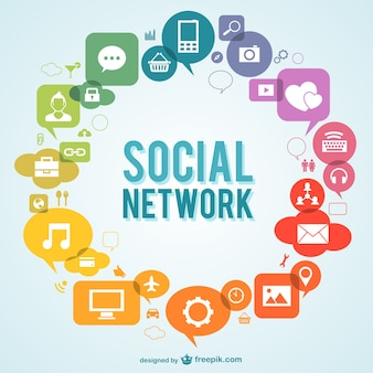 Social network vector with icons