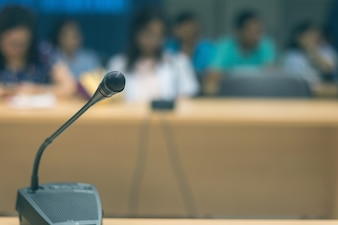 Soft focus of  microphones in conference room