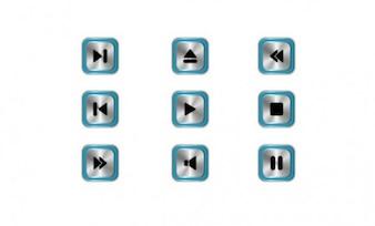 Sound buttons blue framed