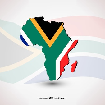 South African flag with silhouette