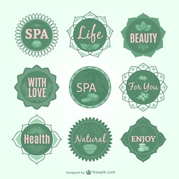 Spa green vector badges