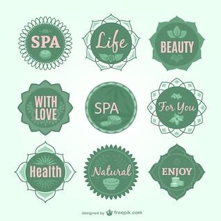 Spa green vector badges
