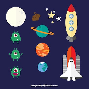 Space elements in cartoon style