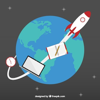 Space rocket orbiting around the earth