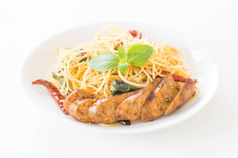Spaghetti with Grilled Sausage