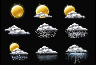 sparkling weather and climate vector set