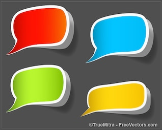 Speech bubbles stickers colorful vector