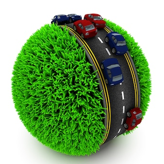 Sphere of grass with cars