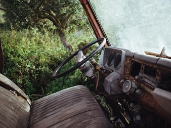 Spider web in the steering wheel