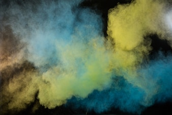 Splashing of color powder