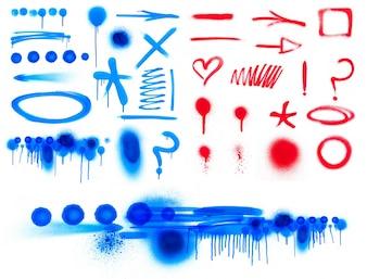 Splattered brush shape ink graphic