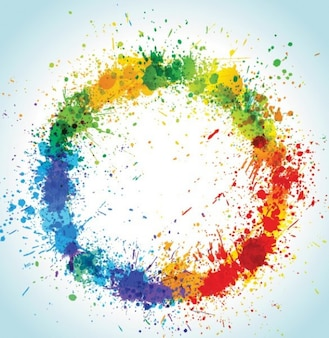 Splattered colorful paint circle abstract background
