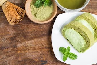 Sponge cake of matcha tea