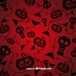 Spooky pattern for Halloween with black silhouettes