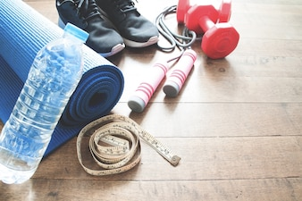 ウッドフロアのスポーツ用具、コンセプトの作業