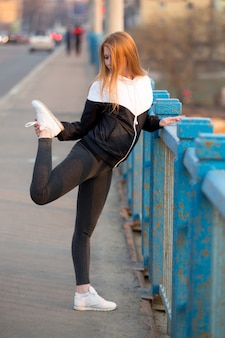 Sport woman stretching