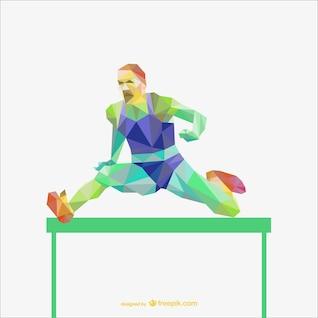 Sportman in a hurdle race polygonal vector