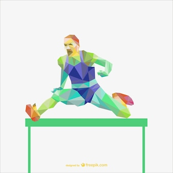 Sportman in a hurdle race polygonal vector