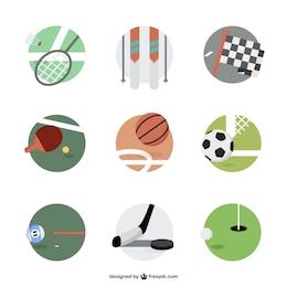 Sports equipment round icons