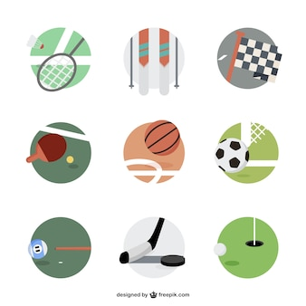 Sports equipment round icons