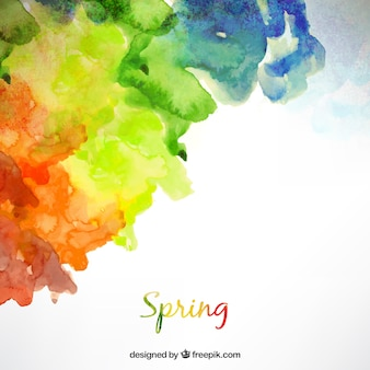 Spring background in watercolor style
