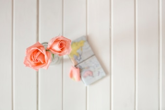 Spring background with blurred world map