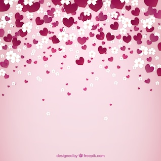 Spring background with flowers and hearts