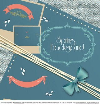 Spring banner with frames
