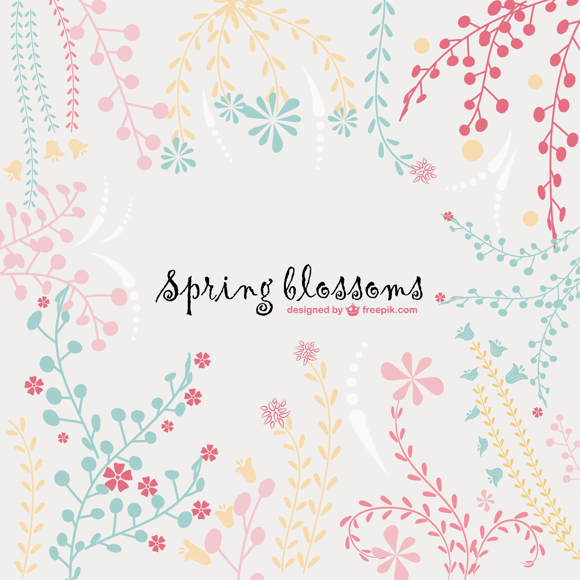Spring blossoms vector background